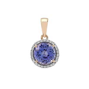 AAA Tanzanite Pendant with Diamond in 18K Gold 2.90cts