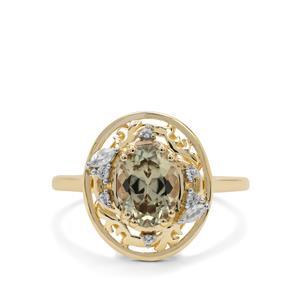 Csarite® & White Zircon 9K Gold Ring ATGW 1.45cts