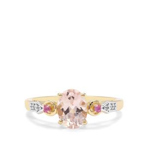 Alto Ligonha Morganite, Pink Sapphire & White Zircon 9K Gold Ring ATGW 1.11cts