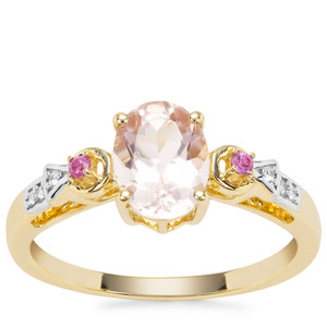 Alto Ligonha Morganite, Pink Sapphire Ring with White Zircon in 9K Gold 1.11cts