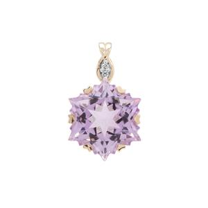 Wobito Snowflake Cut Rose De France Amethyst Pendant with Diamond in 9K Gold 7.15cts