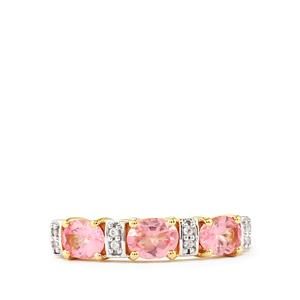 Pink Spinel & White Zircon 10K Gold Ring ATGW 1.13cts