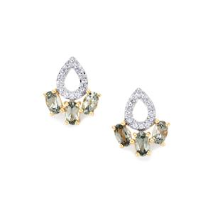 Mahenge Spinel Earrings with White Zircon in 9K Gold 1.53cts