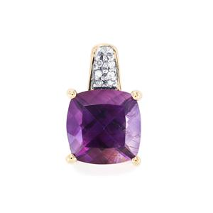 Moroccan Amethyst Pendant with Diamond in 10k Gold 2.85cts