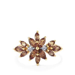 Bekily Colour Change Garnet Ring with Diamond in 9K Gold 1.58cts