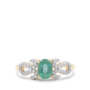 Zambian Emerald & White Zircon 9K Gold Ring ATGW 0.94cts