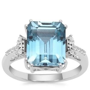 Versailles Topaz Ring with White Zircon in Sterling Silver 5.57cts
