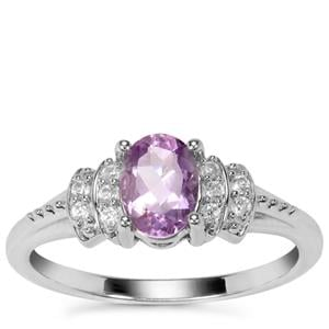 Moroccan Amethyst Ring with White Zircon in Sterling Silver 0.82ct