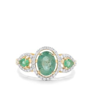 Carnaiba Brazilian Emerald & White Zircon 9K Gold Ring ATGW 1.80cts