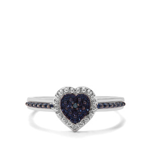 White & Blue Diamond Sterling Silver Ring