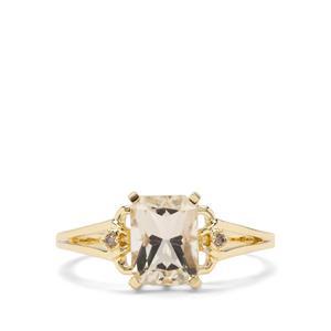 Cuprian Sunstone & Champagne Diamond 9K Gold Ring ATGW 1.40cts