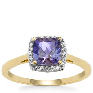 AA Tanzanite Ring with White Zircon in 9K Gold 1.35cts