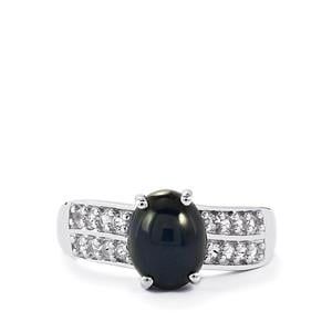 Madagascan Blue Star Sapphire & White Topaz Sterling Silver Ring ATGW 3.35cts