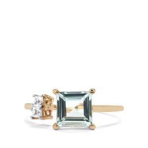 Espirito Santo Aquamarine & White Zircon 9K Gold Ring ATGW 1.41cts