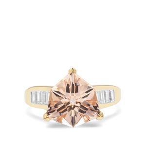 Alpine Cut Alto Ligonha Morganite & White Zircon 9K Gold Ring ATGW 5.65cts