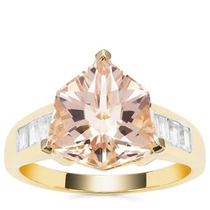 Alpine Cut Alto Ligonha Morganite Ring with White Zircon in 9K Gold 5.65cts