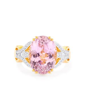 Mawi Kunzite Ring with Diamond in 18k Gold 7.93cts
