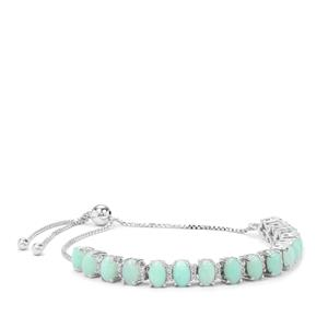 Prase Green Opal Slider Bracelet with White Zircon in Sterling Silver 6.29cts