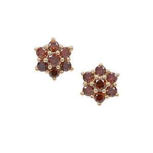 Red Diamond Earrings in 9K Gold 0.39ct