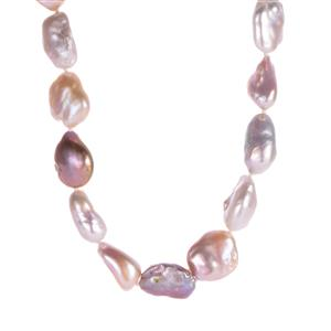 Baroque Cultured Pearl Sterling Silver Necklace (20x15mm)