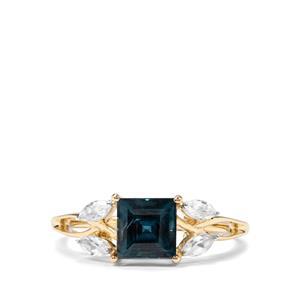 Orissa Kyanite & White Zircon 9K Gold Ring ATGW 2.07cts