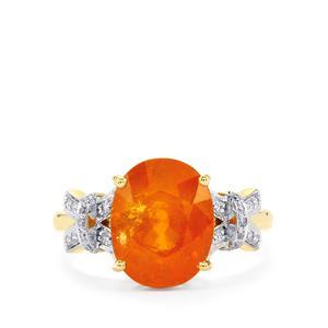 Mandarin Garnet Ring with Diamond in 14k Gold 6.03cts