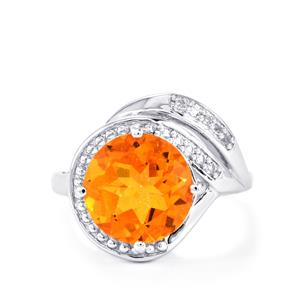 Padparadscha Color Quartz Ring with White Topaz in Sterling Silver 4.57cts