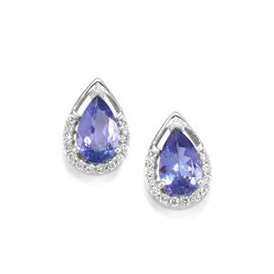 AA Tanzanite Earrings with Diamond in 18K White Gold 1.54cts