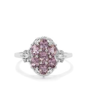 Mahenge Purple Spinel & White Zircon 9K White Gold Ring ATGW 1.45cts