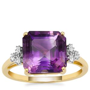 Asscher Cut Moroccan Amethyst Ring with White Zircon in 9K Gold 4.25cts