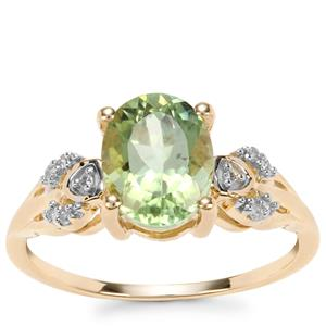 Congo Mint Tourmaline Ring with Diamond in 9K Gold 1.87cts