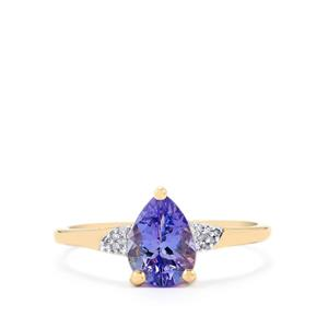 Tanzanite Ring with Diamond in 10k Gold 1.12cts