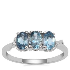 Nigerian Aquamarine Ring with Diamond in 9K White Gold 1.20cts