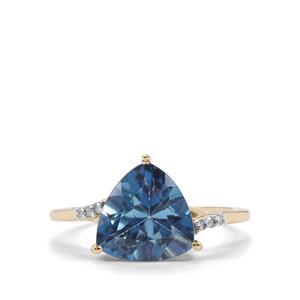 Santa Maria Topaz Ring with Diamond in 10k Gold 4.14cts