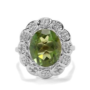 Fern Green Quartz & White Zircon Sterling Silver Ring ATGW 4.81cts