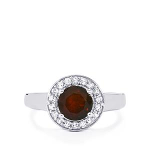 Ethiopian Black Opal Ring with White Topaz in Sterling Silver 1.09cts