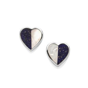 Mother of Pearl & Sar-i-Sang Lapis Lazuli Sterling Silver Earrings (10mm x 4mm)
