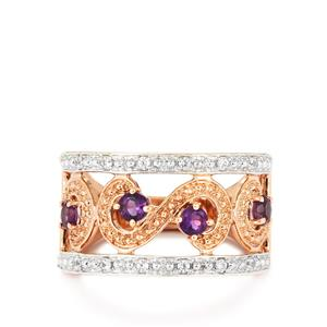 Amethyst Ring with White Topaz in Rose Gold Vermeil 0.61cts