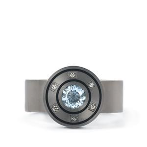 Sky Blue Topaz & Diamond Titanium Ring ATGW 1.20cts