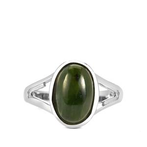 Canadian Nephrite Jade Ring  in Sterling Silver 4cts