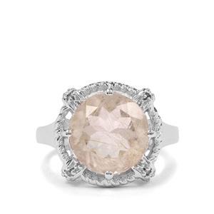 Bahia Rutilite & Champagne Diamond Sterling Silver Ring ATGW 5.41cts