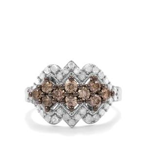1.25ct Champagne & White Diamond Sterling Silver Ring