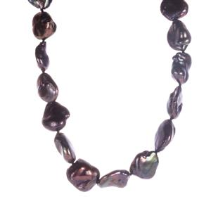 Baroque Cultured Pearl Sterling Silver Necklace (16x14mm)