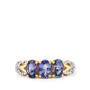 Bi-Color Tanzanite Ring with White Zircon in 10k Gold 1.94cts