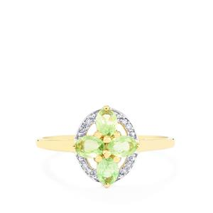 Merelani Mint Garnet & Diamond 9K Gold Ring ATGW 0.56cts