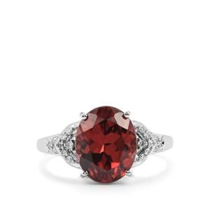 Zanzibar Zircon Ring with Diamond in 18K White Gold 6.35cts