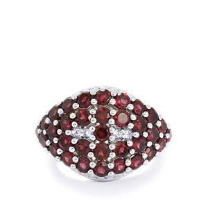 Rajasthan Garnet & White Topaz Sterling Silver Ring ATGW 4.36cts