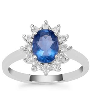 Colour Change Fluorite Ring with White Zircon in Sterling Silver 2.10cts