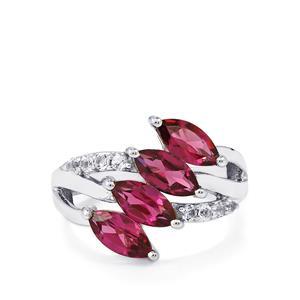 Rajasthan Garnet & White Topaz Sterling Silver Ring ATGW 2.78cts
