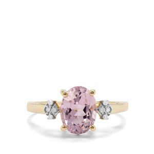 Mawi Kunzite & White Diamond 9K Gold Ring ATGW 2.62cts